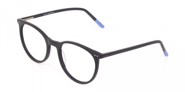 Matte Black Designer Round Eyeglasses Unisex-3