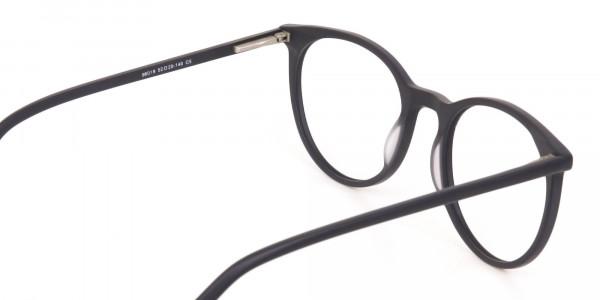 Matte Black Designer Round Eyeglasses Unisex-5