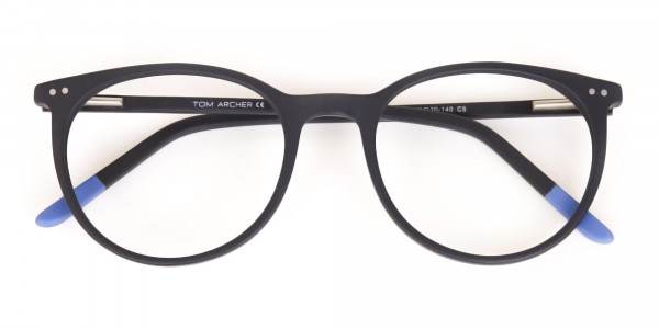 Matte Black Designer Round Eyeglasses Unisex-6