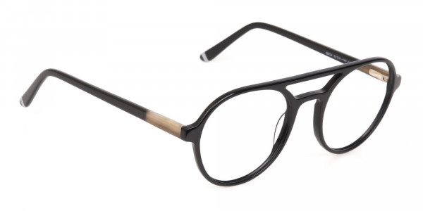 Black Double Bridge Designer Glasses Frame Unisex-2