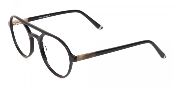 Black Double Bridge Designer Glasses Frame Unisex-3