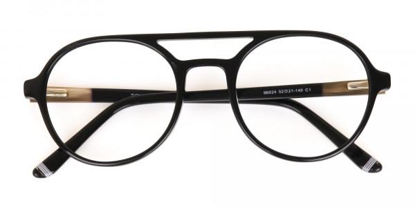 Black Double Bridge Designer Glasses Frame Unisex-6