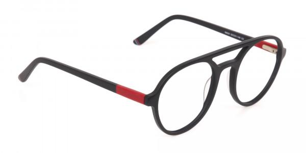 Matte Black & Red Double Bridge Glasses Frame Unisex-2