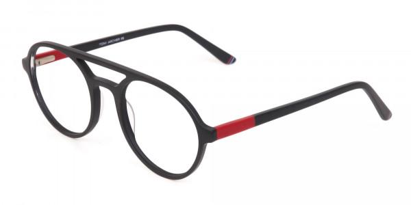 Matte Black & Red Double Bridge Glasses Frame Unisex-3