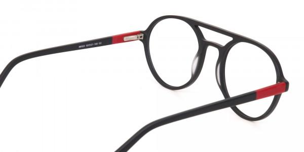 Matte Black & Red Double Bridge Glasses Frame Unisex-5