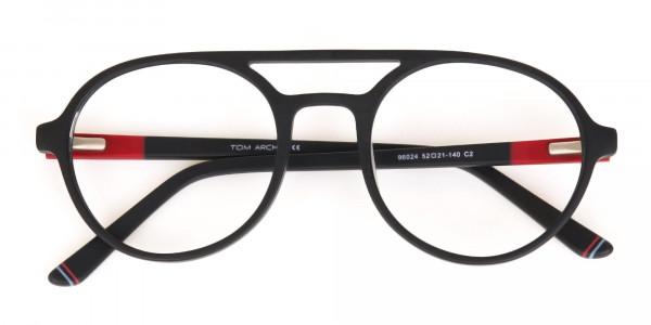 Matte Black & Red Double Bridge Glasses Frame Unisex-6