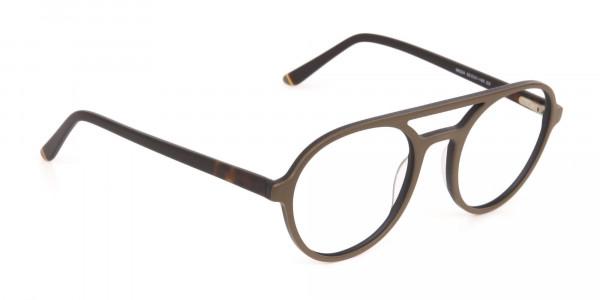 Oak Brown and Tortoise Designer Round Eyeglasses-2