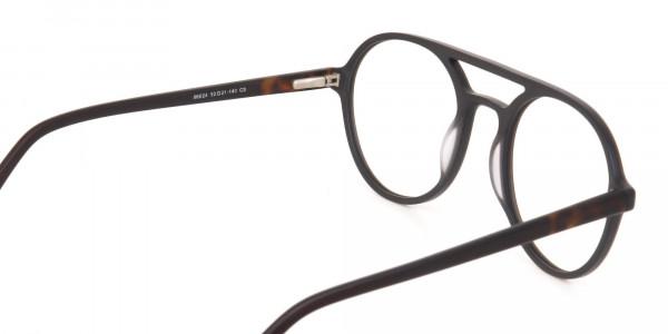 Oak Brown and Tortoise Designer Round Eyeglasses-5