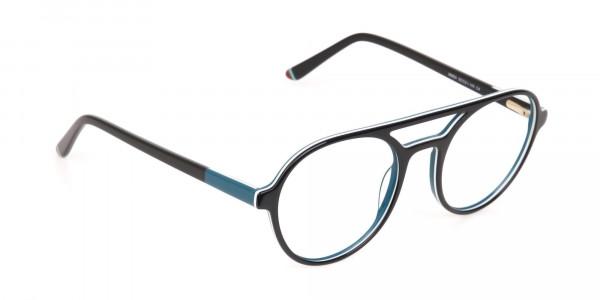 Black & Turquoise Double Bridge Glasses in Round-2