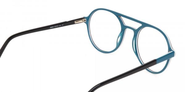Black & Turquoise Double Bridge Glasses in Round-5