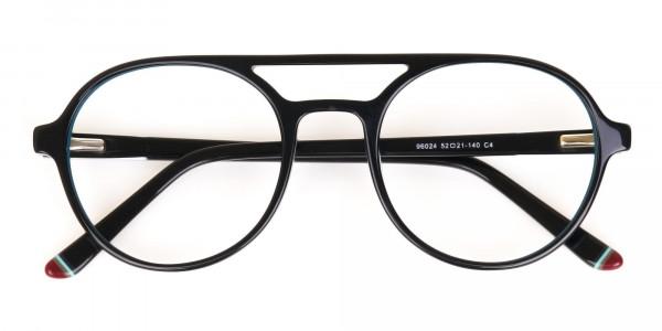 Black & Turquoise Double Bridge Glasses in Round-6