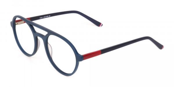 Turquoise Green & Dark Blue Double bridge Glasses -3