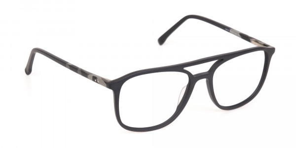 Rectangular Matte Black Double Bridge Glasses-2