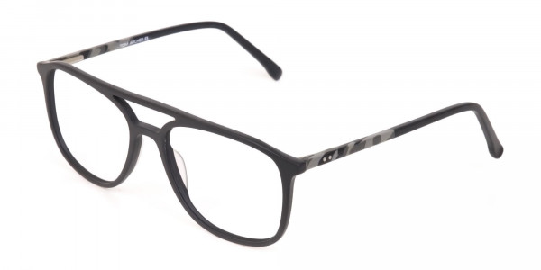 Rectangular Matte Black Double Bridge Glasses-3