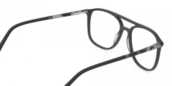 Rectangular Matte Black Double Bridge Glasses-5