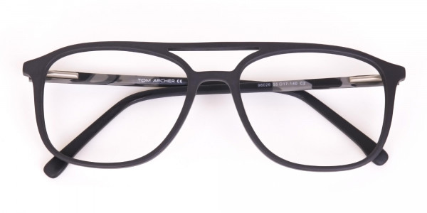 Rectangular Matte Black Double Bridge Glasses-6