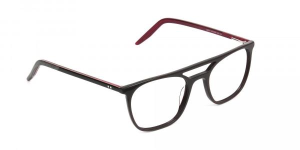 Dark Brown & Red Aviator Spectacles  - 2