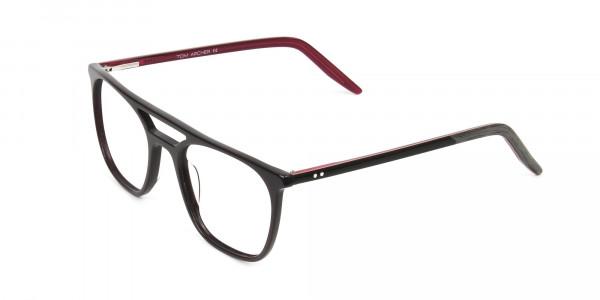 Dark Brown & Red Aviator Spectacles  - 3