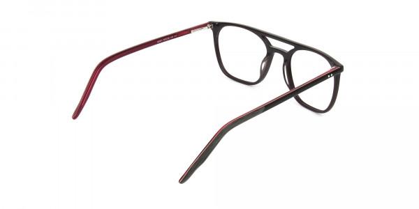 Dark Brown & Red Aviator Spectacles  - 5