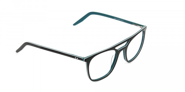 Black & Teal Aviator Spectacles - 2