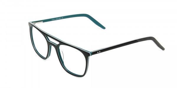 Black & Teal Aviator Spectacles - 3