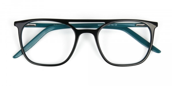 Black & Teal Aviator Spectacles - 6