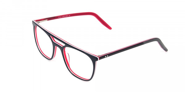 Red & Navy Blue Aviator Spectacles - 3