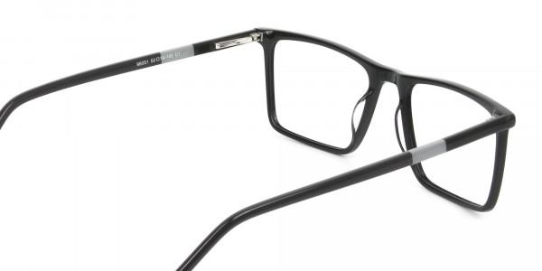 Unisex Black Rectangular Glasses - 5