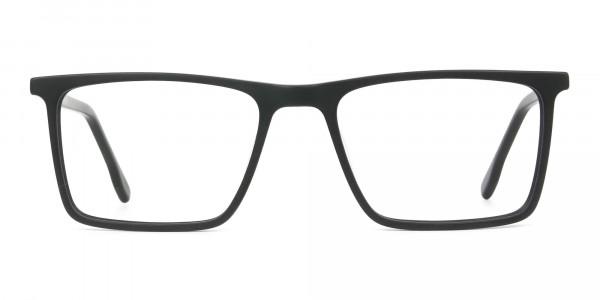 Matte Black & Red Rectangular Glasses - 1
