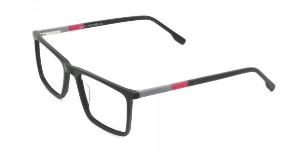 Matte Black & Red Rectangular Glasses - 3