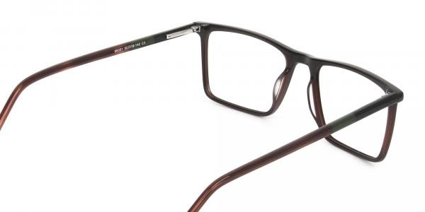 Dark Brown Rectangular Glasses - 5