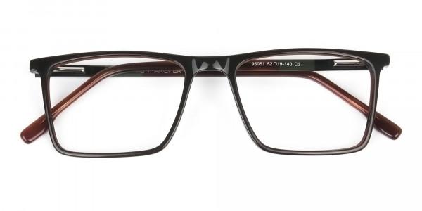 Dark Brown Rectangular Glasses - 6
