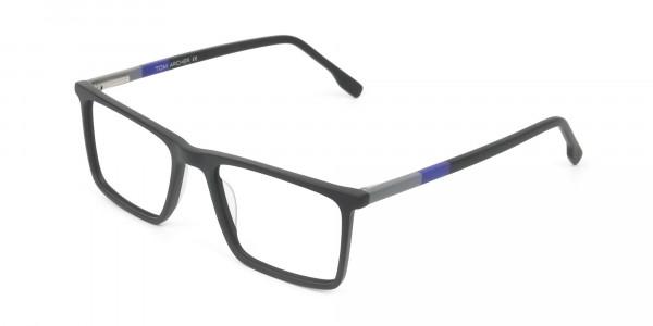 Black & Blue Rectangular Glasses - 3