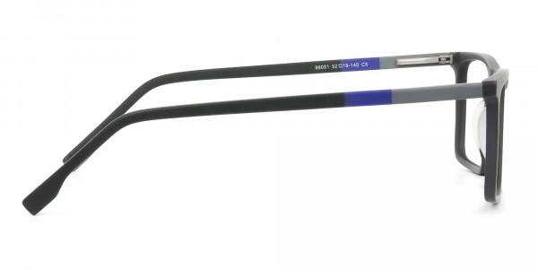 Black & Blue Rectangular Glasses - 4