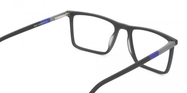 Black & Blue Rectangular Glasses - 5
