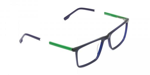 Blue & Green Rectangular Glasses - 2