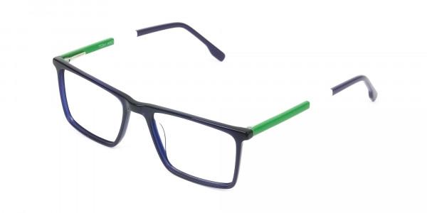 Blue & Green Rectangular Glasses - 3