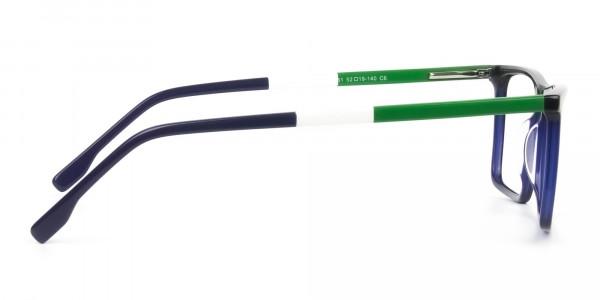 Blue & Green Rectangular Glasses - 4