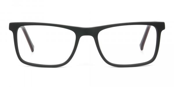 Round Temple Tip Matte Black Eyeglasses Rectangular - 1