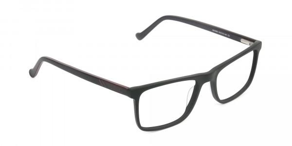 Round Temple Tip Matte Black Eyeglasses Rectangular - 2