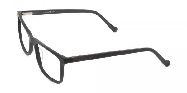 Round Temple Tip Matte Black Eyeglasses Rectangular - 3