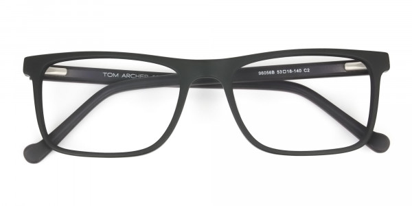 Round Temple Tip Matte Black Eyeglasses Rectangular - 6