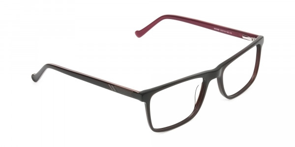 Round Temple Tip Dark Brown & Red Glasses in Rectangular - 2