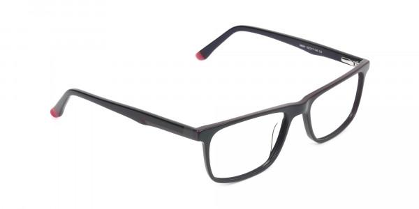 Dark Blue & Burgundy Temple Tips Glasses in Rectangular - 2