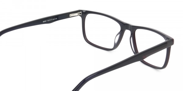 Dark Blue & Burgundy Temple Tips Glasses in Rectangular - 5
