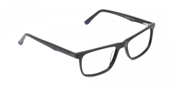Black & Blue Temple Tips Glasses in Rectangular - 2