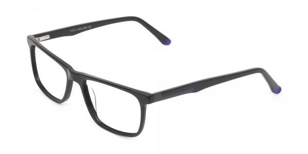 Black & Blue Temple Tips Glasses in Rectangular - 3