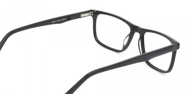 Black & Blue Temple Tips Glasses in Rectangular - 5
