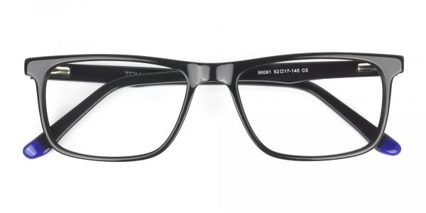 Black & Blue Temple Tips Glasses in Rectangular - 6