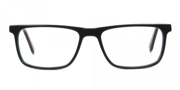Black and Dark Green Temple Tips Glasses in Rectangular - 1